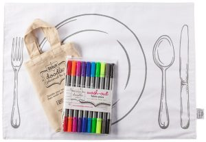 Eat Sleep Doodle washable cloth placemat with multicolored markers