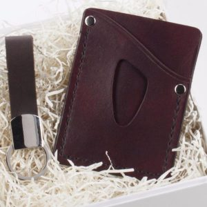 Valentine's Day gift idea for him with handmade leather card sleeve and key fob