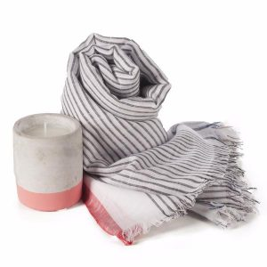 Paddywax Urban Concrete soy candle with eco-friendly handmade scarf