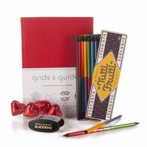 A creative gift for students with Grids & Guides graph paper notebook and Tutti Frutti doublesided colored pencils