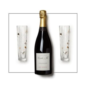 Champagne flutes and champagne gift