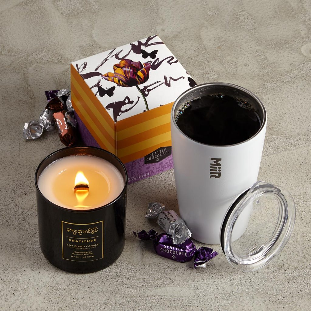 """iiR Vacuum Insulated Tumbler, 12 oz, 5.5"""" tall Burmese Gratitude Candle, 40 hour burn time, 8.5 oz Seattle Chocolate Assorted Truffles, 6 oz, 18 pieces in six flavors"""