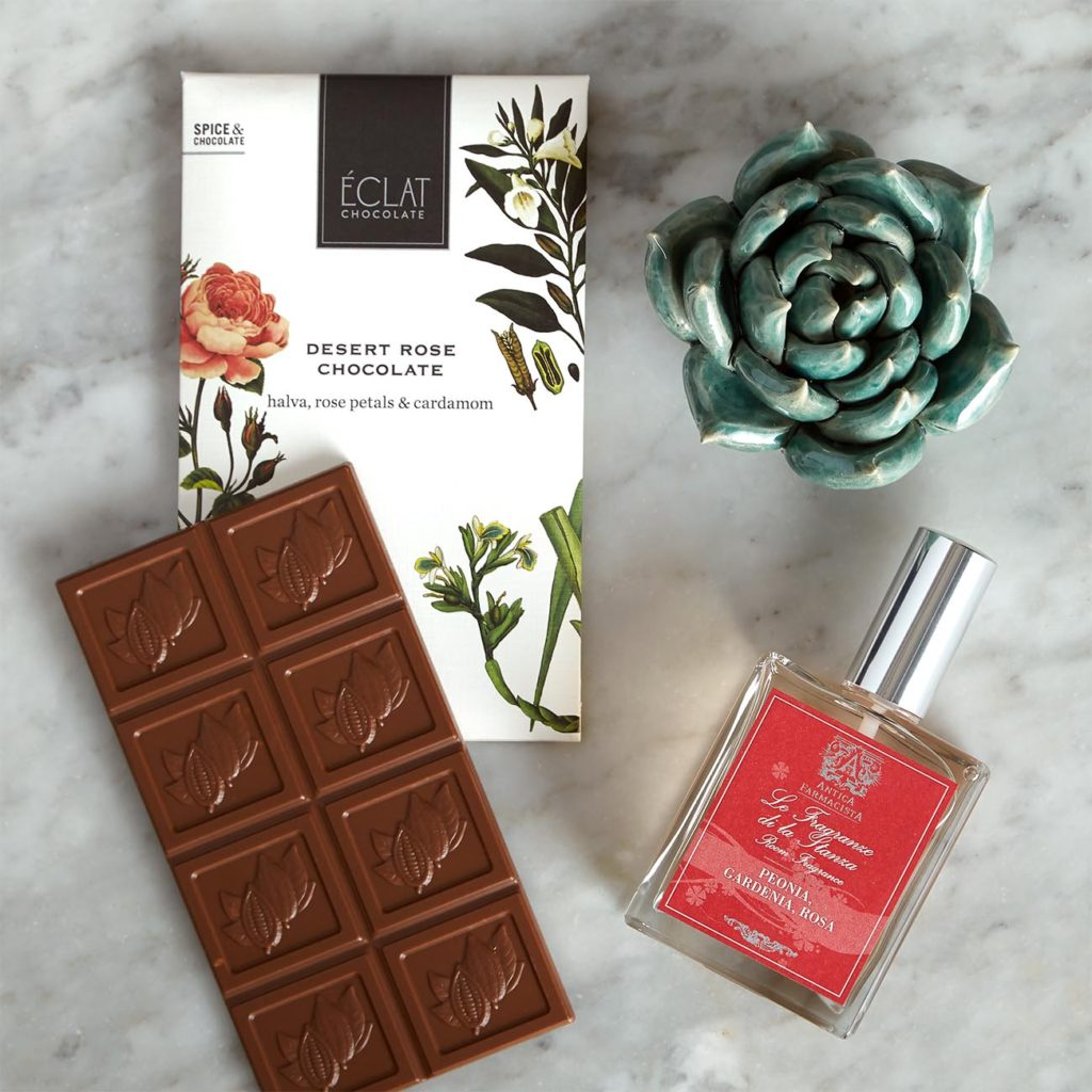 Gift set with rose-flavored chocolate, floral room spray and ceramic succulent