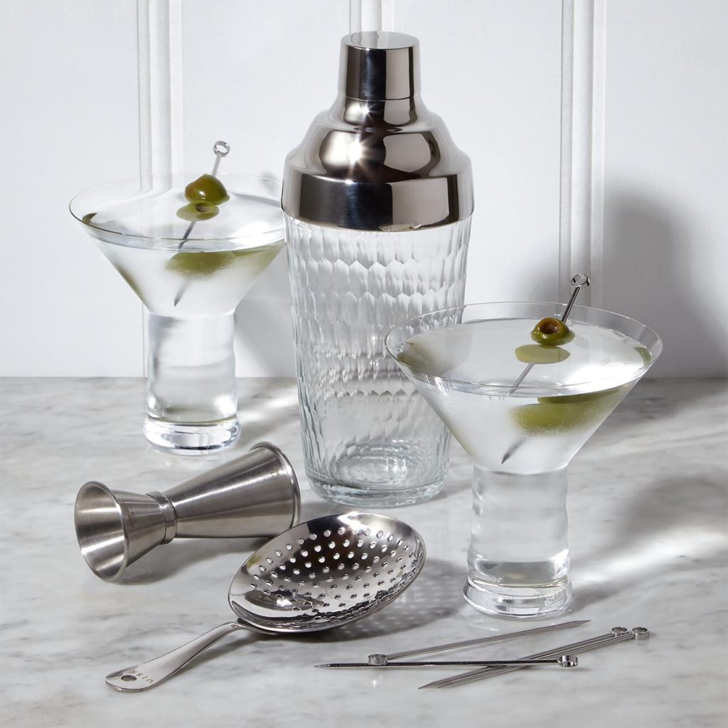 Zodax Hammered Glass Cocktail Shaker, 2 Riedel O Martini Glasses, W & P Design Cocktail Strainer, Viski Cocktail Picks, set of 6, W & P .75 oz/1.5 oz Double-Sided Stainless Steel Cocktail Jigger