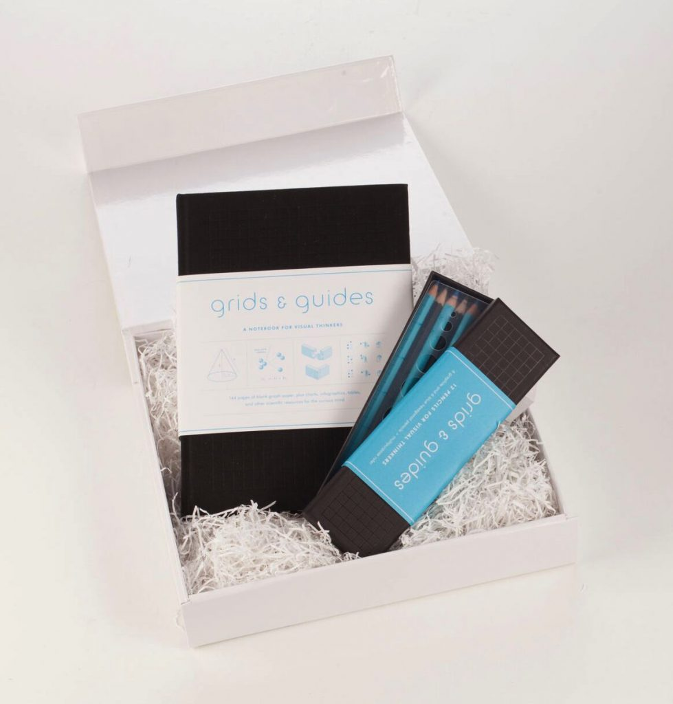 Grids and Guides Notebook and Pencils Gift Set