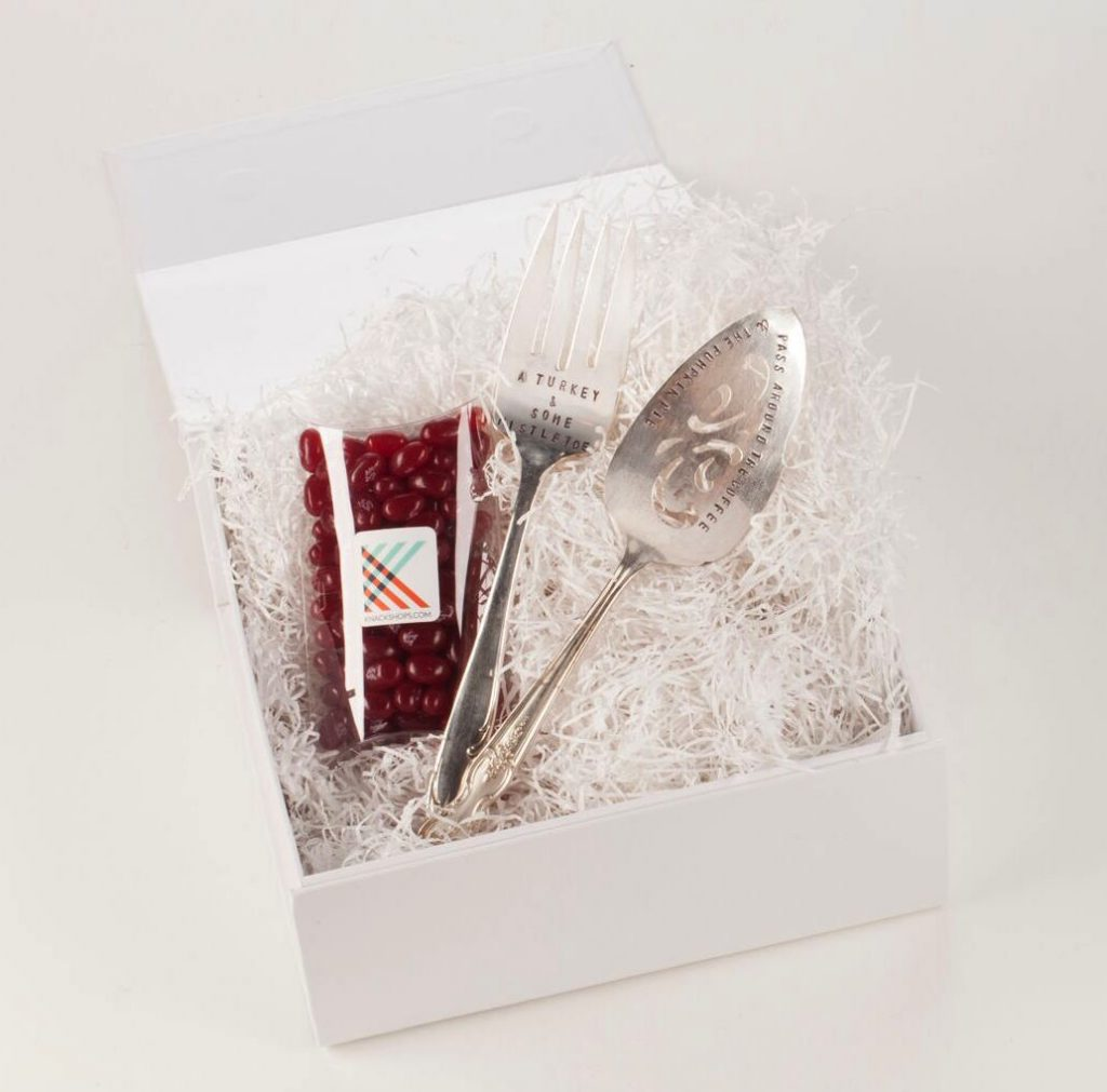 Holiday hostess gift with two vintage silver hand-stamped serving utensils and cranberry jelly belly beans