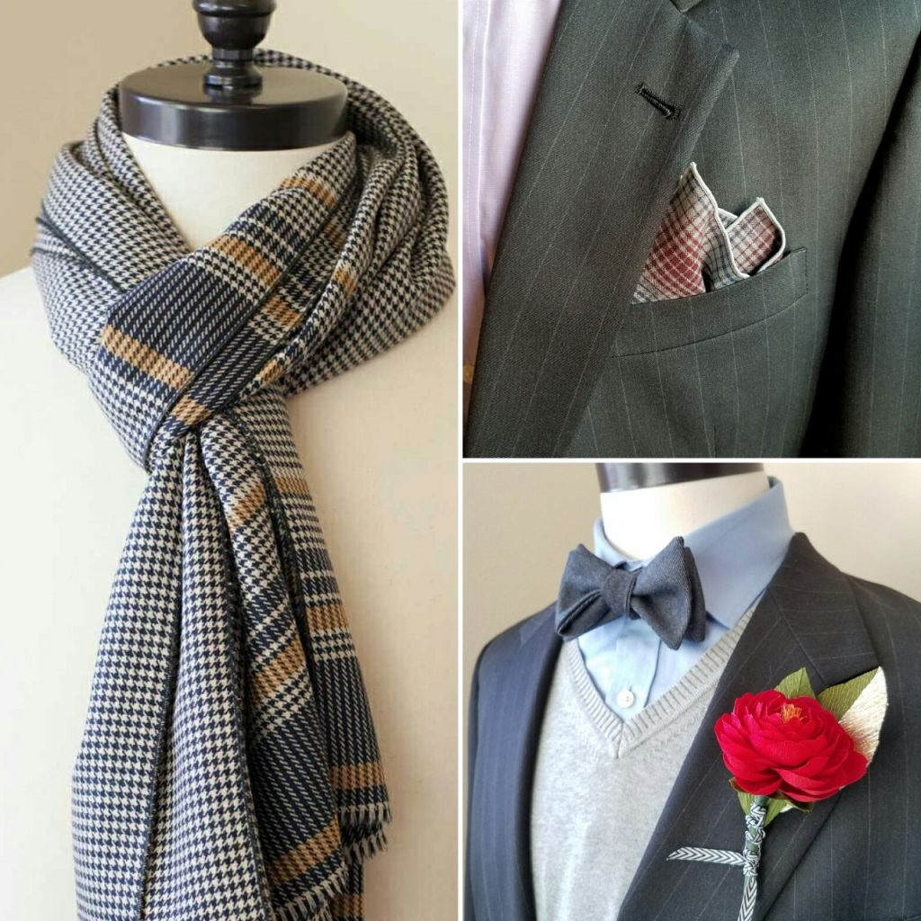 Handmade wool scarf, pocket square, and bowtie by Seattle menswear tailor Hapertas & Company
