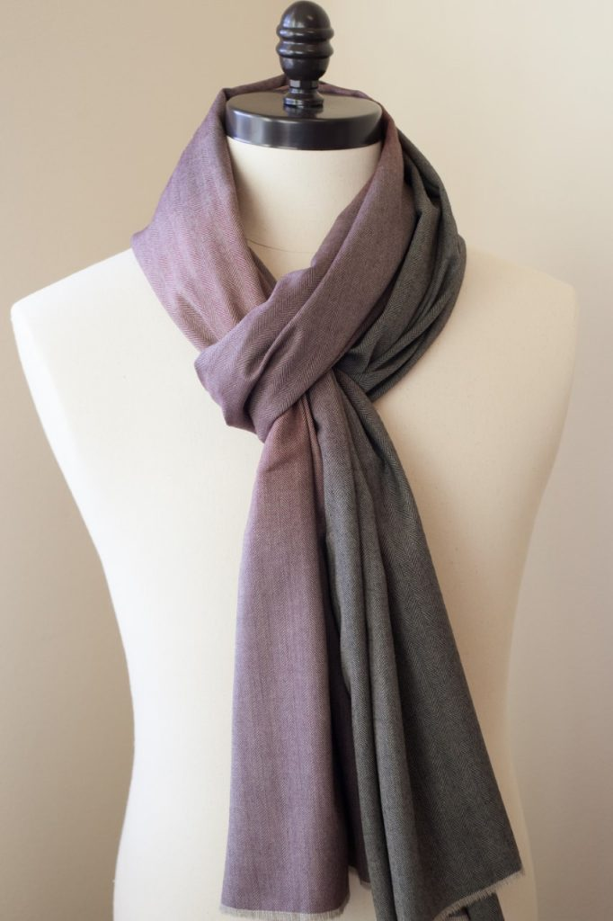 Reversible purple and black ombre menswear scarf