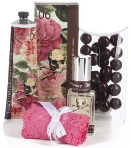 Romantic gift for her with Cosabella Never Say Never thong, Tokyo Milk Gin & Rosewater perfume and hand lotion