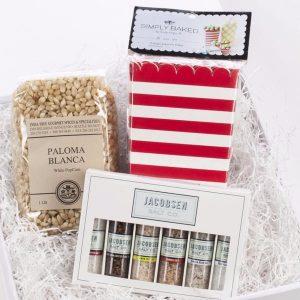 Paloma Blanca popcorn kernels, Jacobsen Salt Co. gourmet salt sampler, Simply Baked popcorn boxes