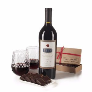 Betz Family Winery Bordeaux and salted caramels with handblown wine glasses