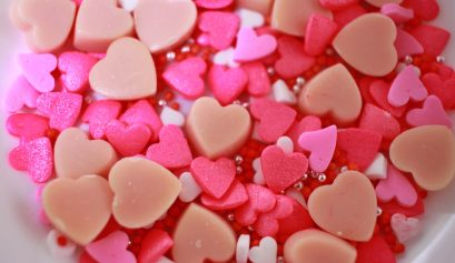 Multicolored heart-shaped candies