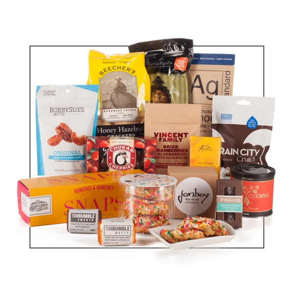 Administrative Professionals Day gift basket with gourmet Northwest snacks