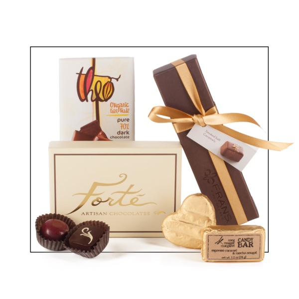 A collection of Northwest chocolate bars, caramels, and truffles for a chocolate lover's gift