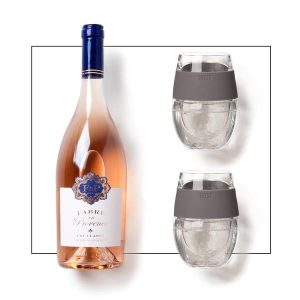 Rose Wine & Stemless Glasses