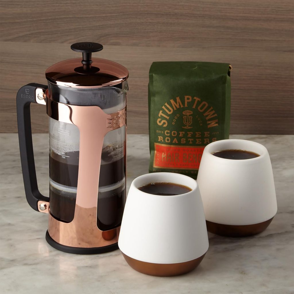 •Espro Copper French Press, stainless steel and glass, max fill 18 oz, 2 Fellow Joey Ceramic Mugs, 8 oz each, Hair Bender Whole Bean Coffee, 12 oz