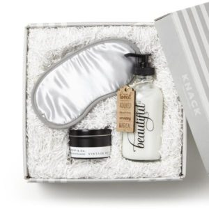 eye mask, candle, lotion gift set