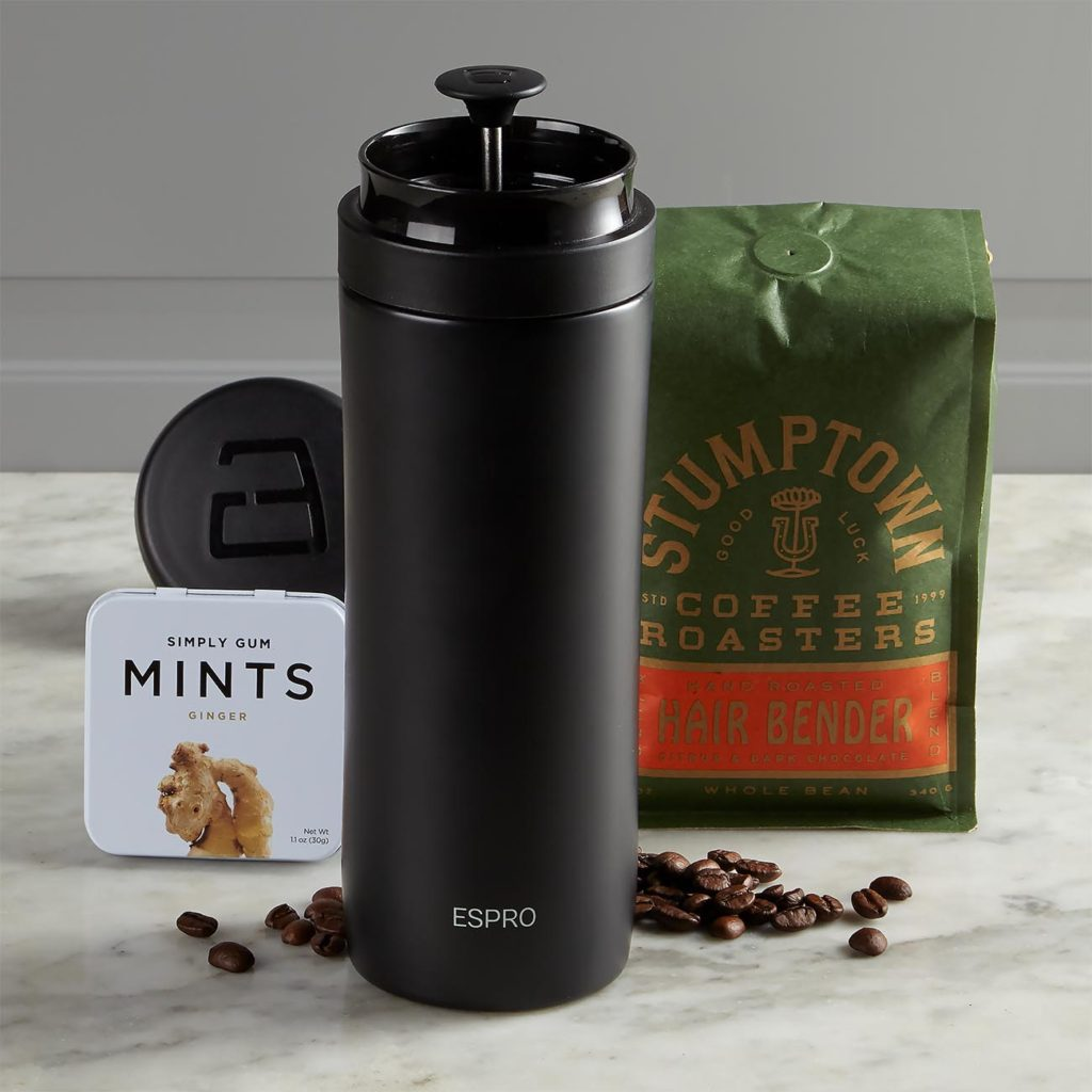 Gift set with coffee beans, travel mug and ginger mints