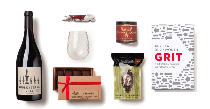 Employee business gift idea with wine and chocolate