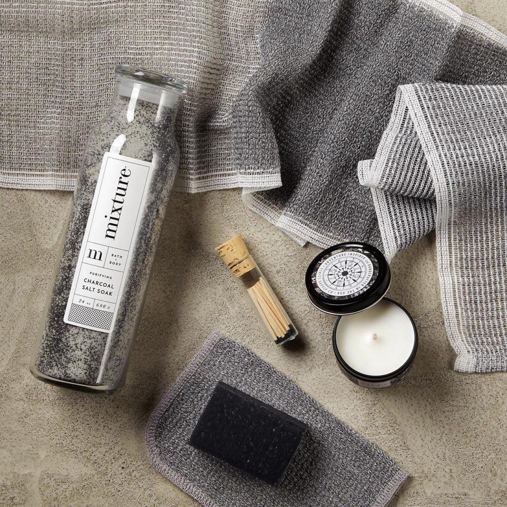 "Ethics Supply Co. Tides Mediterranean Travel Candle 15 hour burn time 3.8 oz, Morihata Binchotan Charcoal Face Scrub Towel 7"" h x 10"" w, Morihata Binchotan Charcoal Body Scrub Towel, 40"" h x 9"" w, Herbivore Botanicals Bamboo Charcoal Cleansing Bar 4 oz, Mixture Charcoal Salt Soak 24 oz, Vial of black tipped mini matches"