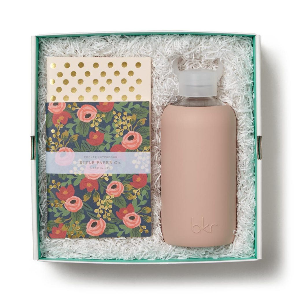 """bkr Naked Pink Original Glass Bottle 500 ml, Rifle Paper Co. Rosa pocket notebooks set of 2 blank interiors 64 pages 5.5"""" h x 4.25"""" w"""