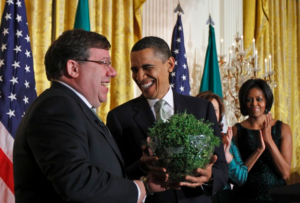 President Obama Receiving a Shamrock from Ireland Prime Minister Brian Cowen in 2010