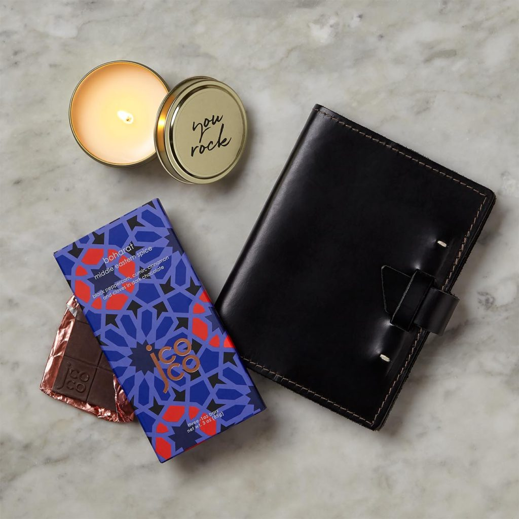 Business Gifr with candle, notebook, and chocolate bar