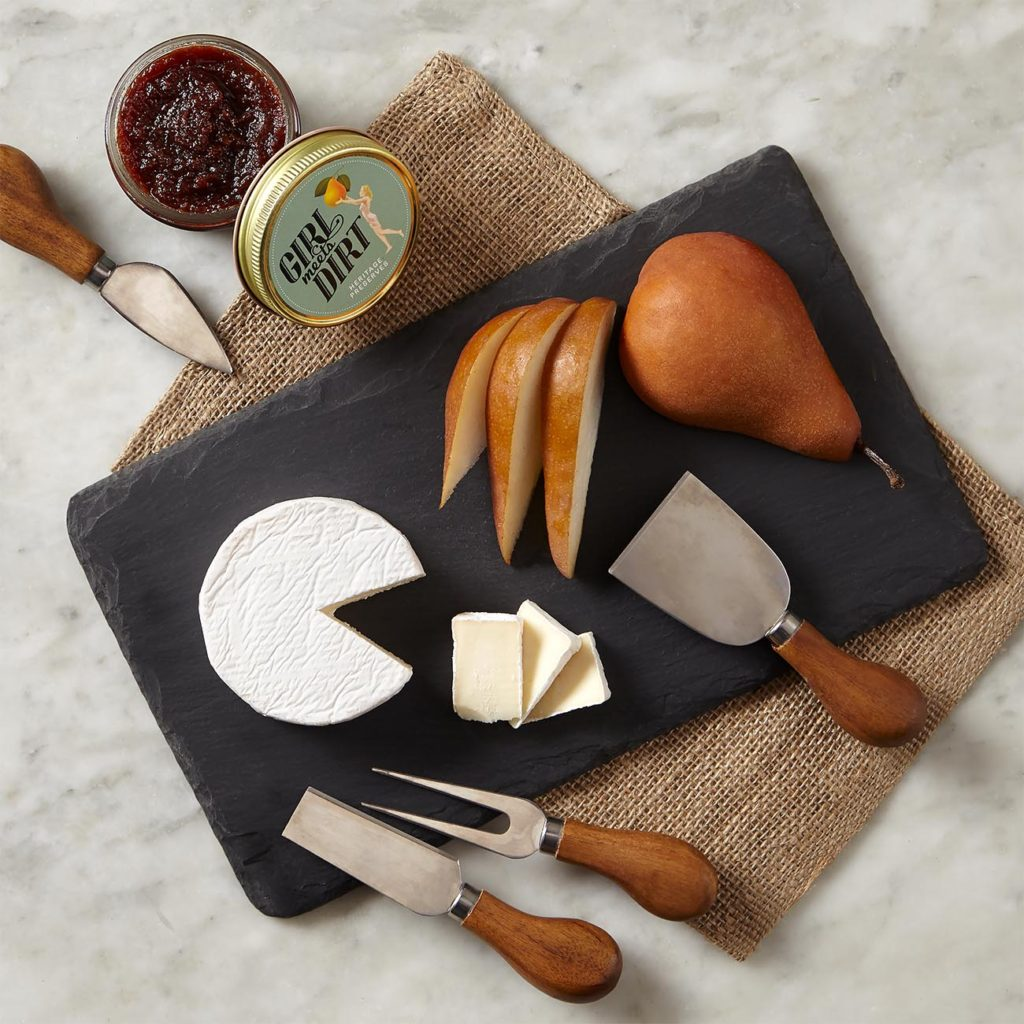 Gift set with slate cheese board, artisan cutting utensils, and delicious preserves