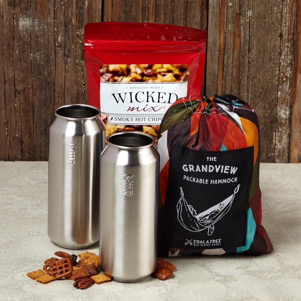 This unique client gift includes 2 MiiR 16 oz Tall Boys, stainless steel, Coalatree Grand View Hammock for 2 people, and Smoky Hot Chipotle Original Wicked Pub Mix 7 oz