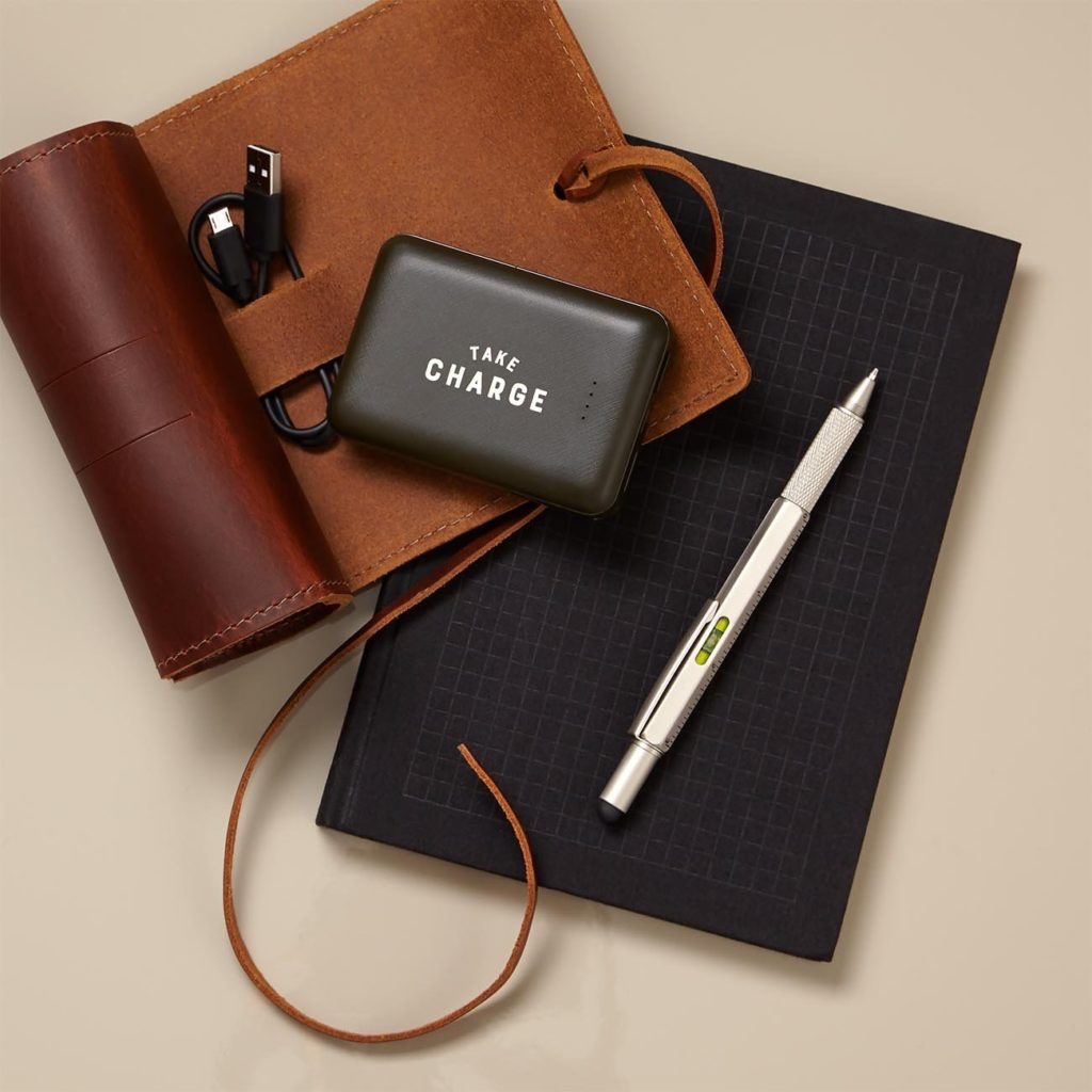 This unique client gift includes Wild & Wolf Take Charge Power Bank, Rustico Sidekick Leather Cord Wrap with a canvas storage bag, Wild & Wolf 6 In 1 Tooling Pen, and Princeton Architectural Press Grids & Guides Notebook