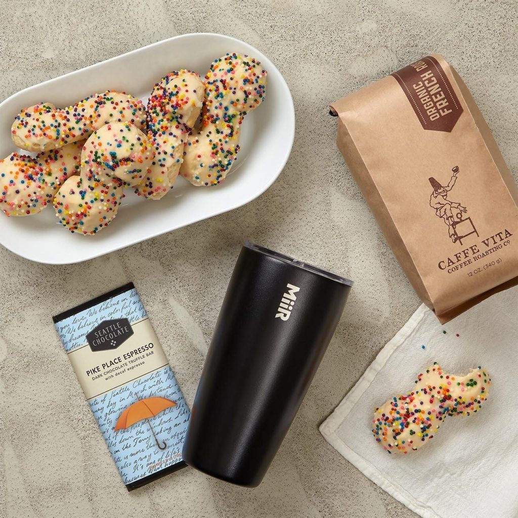 MiiR Black Vacuum Insulated Tumbler, CiCi's Vanilla Sprinkle Cookies, Caffe Vita Organic French Roast Whole Bean Coffee, Seattle Chocolate Pike Place Espresso Truffle Bar