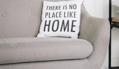 social distancing picture at home with sofa and pillow