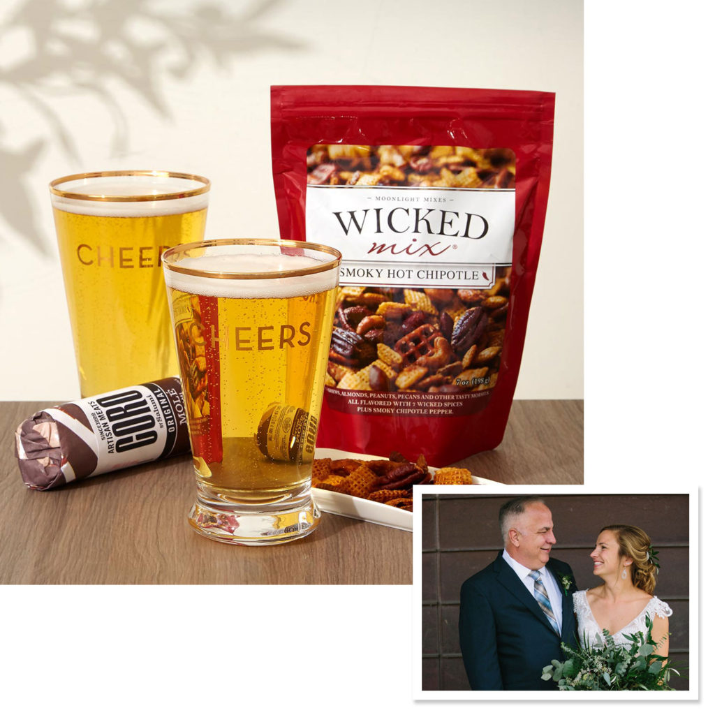 "2 Twine Cheers Pint Glasses, 16 oz each, 5.5""h Smoky Hot Chipotle Original Wicked Mix, 7 oz Theo Chocolate Beer Confection Collection, 1.7 oz, 4 chocolates Coro by Salumi Molé Salami, 5 oz"