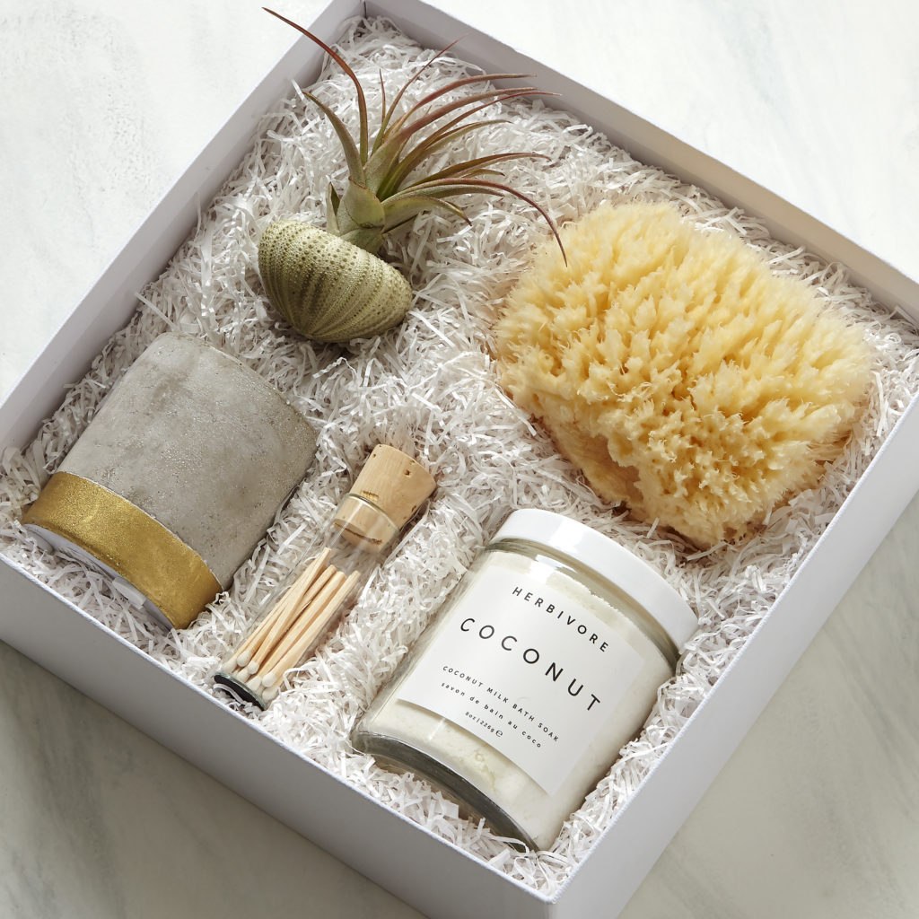 Just Breathe Spa Gift Set With Herbivore Bath Salts, a sea sponge, and a scented candle
