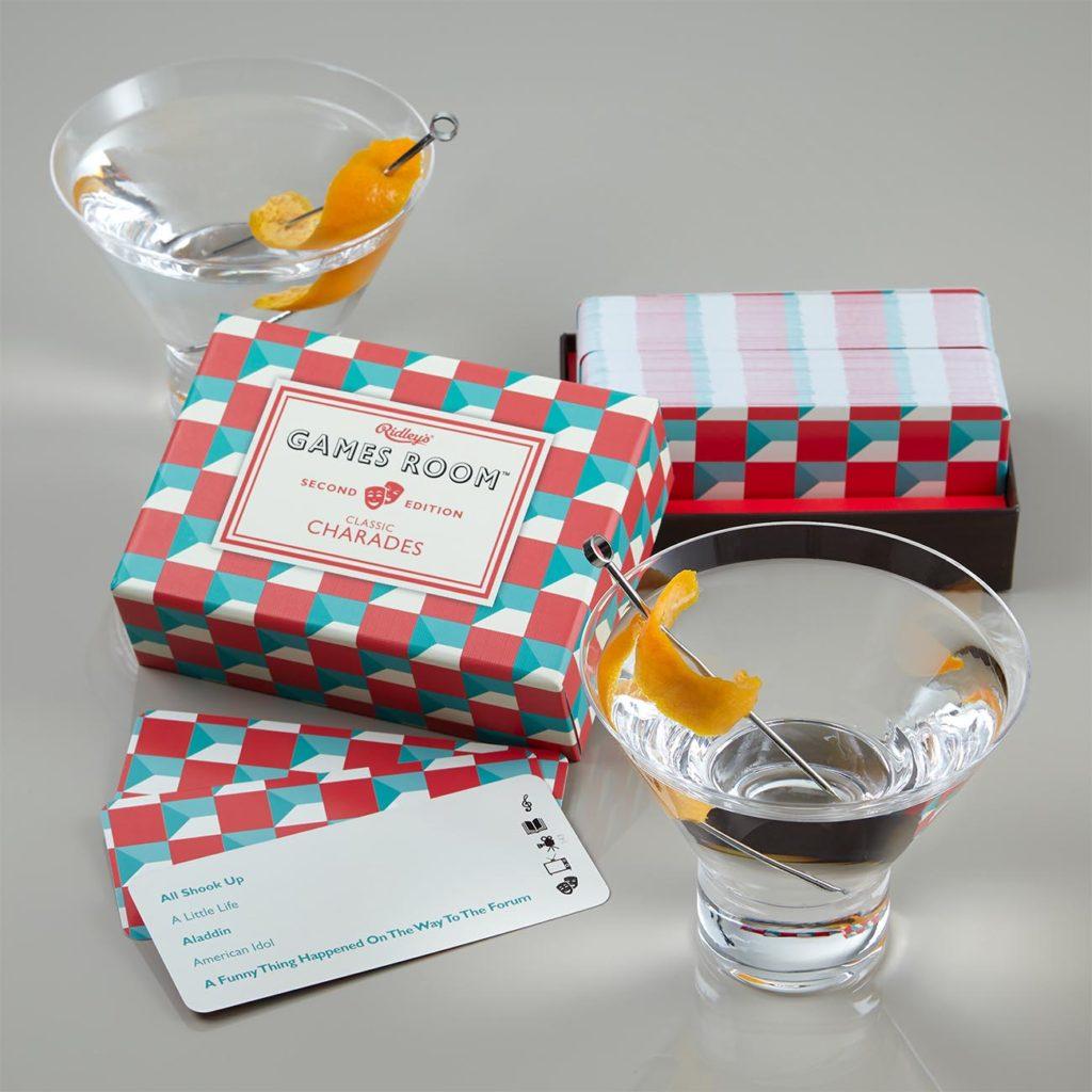 Martini glasses and trivia game gift set